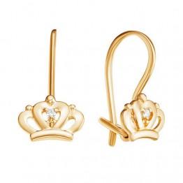 Детские сережки Короны золотые