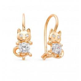 Детские сережки Кошечки из золота