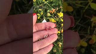 Пусеты для девочки Божьи коровки бриллианты